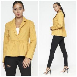 Jackets & Blazers - NEW Mustard Yellow Peplum Jacket
